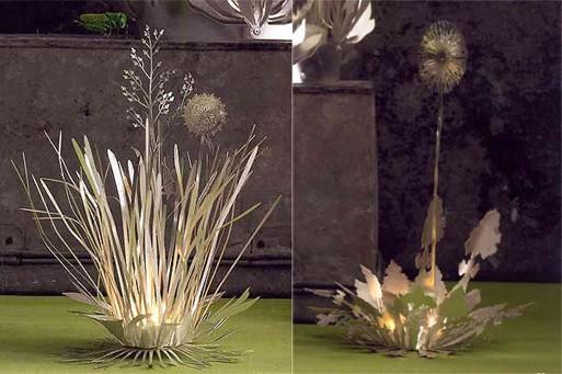 Metal Filagree Botanical Tealight Holder