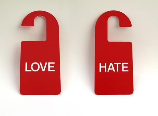 Love/Hate Door Sign