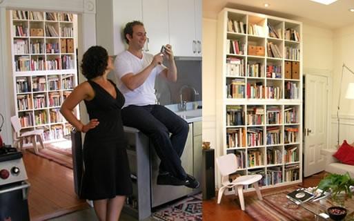 Wall of Books at Philip Wood and Tanya Ketenjian's home