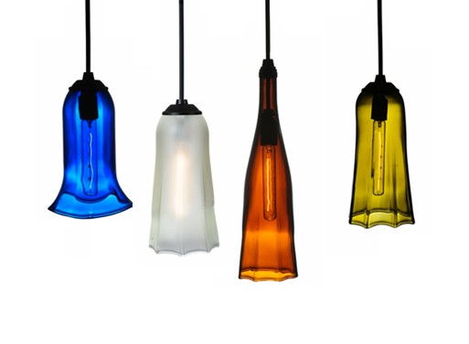 Fluted and Finned Wine Bottle Pendants